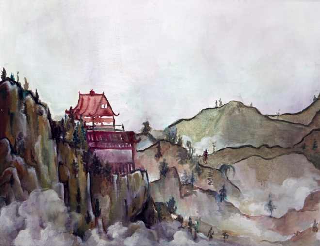 eastern watercolor in oil paint